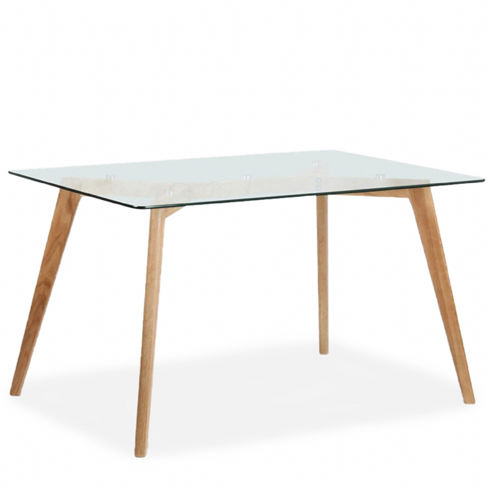 Mmilo Bergen 180cm Rectangular Dining Table, Glass & Oak